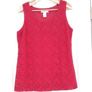 Susan Graver Style Red Lace Sleeveless Top XL
